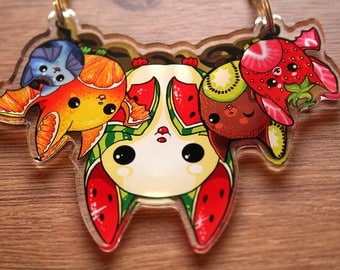 Fruit Bat Necklace, Kawaii Cute Watermelon, Kiwi, Strawberry, Orange, Blueberry, Clear Acrylic Necklace, Original Art , Artwork Jewellery