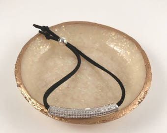 White Gold Pave Tube x Black Adjustable Suede Bracelet