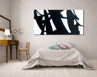Minimal Art, Original Painting, Living Room Wall Art, Living Room Decor, Extra large wall art, Painting canvas art, Black and White Art