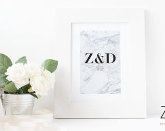 Marble Print - Single Initial or Couple Initial