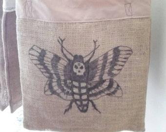 Tote bag burlap handpainted moth skull