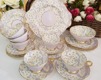 "20Pcs Paragon ""Chippendale"" Chintz Tea Set For Six People (6 Trios, Cake Plate and Sugar Bowl), England c1932+"