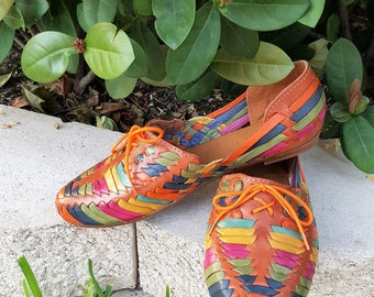 Multicilor Women's leather sandals. Mexican huarache sandals.