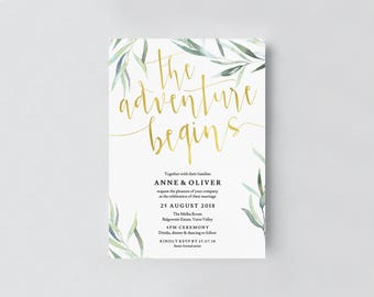 Gold wedding invitation template, Gold The adventure begins gold invitation, Gold wedding invites, Faux gold foil wedding invitation