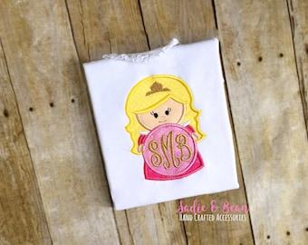 Sleeping Princess Birthday Shirt, Princess Shirt, Princess Birthday Shirt, Monogrammed Shirt, Girls Birthday Shirt, Embroidered, Custom