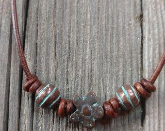 Copper Flower Leather Choker