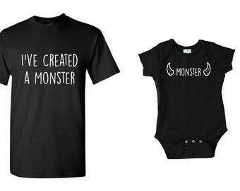 Funny, Dad Son, Dad Daughter, Dad Child, Matching Set, Dad Matching Set, Dad Gift, I've Created a Monster Matching Shirt Set