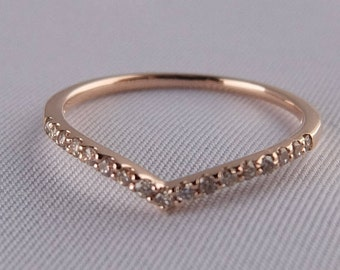 10K Rose Gold Curved Half Eternity Dia Ring