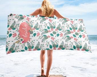 Beach Towel For Bride| Bride Beach Towel Honeymoon Beach Towel | Personalized Bridal Beach Towel |Bridal Beach Towel | Beach Bachelorette