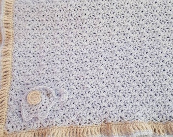 Baby Blue Crocheted Blanket with Elephant, Crochet Blue Baby Blanket with Oatmeal Trim
