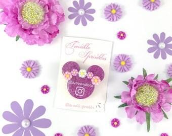 Floral Rapunzel inspired Instagram logo brooch