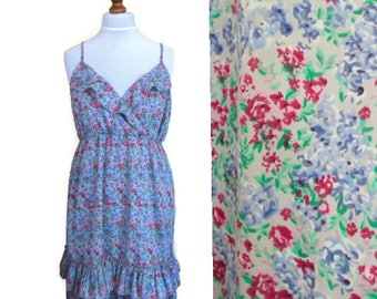 Vintage Floral Dress, Summer dress, Ruffle dress, Floral dress, Bohemian dress, Boho dress, Midi dress, Party dress, Frilled dress, Size XL