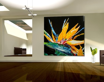 Special price XXL Blossom Flower Original from Gallery art painting exclusive gift large black orange red green
