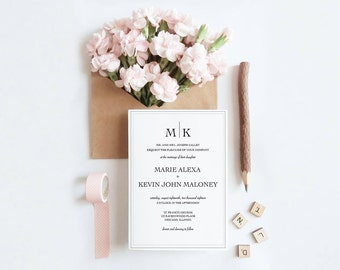 Wedding Invitation Suite with Border | Printable Wedding Invite | RSVP | Details
