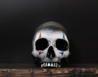 The Rookie Clown -  Red White & Blue Life Size Realistic Faux Human Skull Replica with Silver Teeth / Art / Ornament / Home Decor