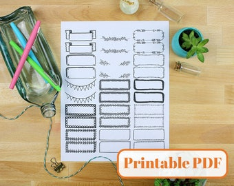 Bullet Journal Printable PDF - Decorative Borders Headers Banners and Boxes for Planner or Bujo Printable Stickers Black Ink