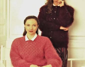 Ladies Mohair Cardigan and Sweater  Vintage Knitting Pattern  Digital Download