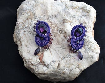 earrings soutache purple, soutache, soutache jewelry, handmade earrings, soutache jewels, stud earrings, soutache embroidery