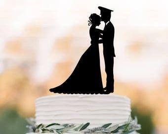police man Wedding Cake topper, police officer cake topper, couple silhouette wedding cake decor