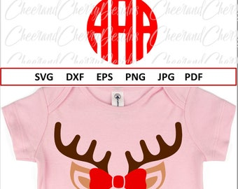 Reindeer Monogram Svg Christmas Monogram for girls Christmas SVG files Silhouette Reindeer with Bow SVG Cricut Reindeer SVG Vinyl Antlers