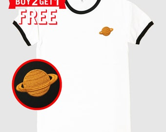 Saturn Embroidered Ringer T-Shirt by 24PlanetsStudio