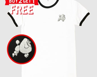 Poodle Dog Embroidered Ringer T-Shirt by 24PlanetsStudio