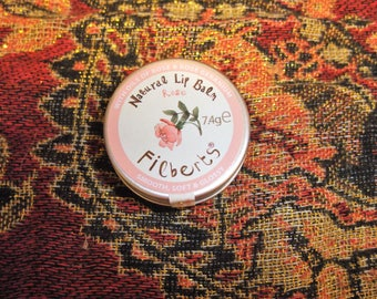 Natural Lip balm Rose Hand Made by Filberts of Dorset  from Natural ingredients  with Oils of Rose & Geranium 7.4 g container