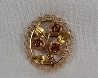 Vintage Krementz Rose Gold Rose Flower Brooch 14kt Gold Overlay