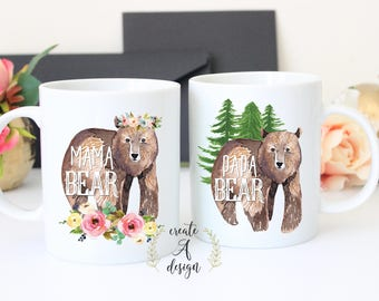 Mama Bear Mug, Papa Bear Mug, Bear Mug Set New Parents Gift, Gift for Father Mother Christmas, Papa and Mama Bear Mugs, ceramic coffee mug