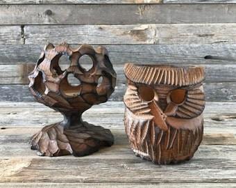 Vintage Wood Votive Holders Owl And Tree, Wood Tealight Holders