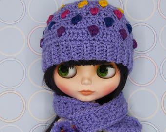 Blythe hat beanie Purple Rainbow dots