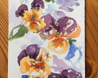 An Original Watercolor, Pansies