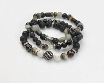 Black Bracelet (1) | Black Stretch | Stretch Black Bracelet | Black | Gray | Black and Silver | Stacked Bracelets