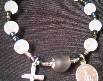 Rosary Stretch Bracelet - White Frosted, Miraculous Medal