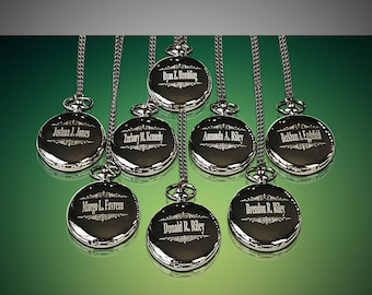 9 Personalized Pocket Watches - 9 Groomsman engraved gifts - Personalize engrave gift - Engraved Father of the Bride gift - Wedding gift set