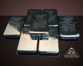 11 Engraved lighters - Custom engraved refillable lighter in box - Personalized Groomsmen gift - Laser engraved custom wedding gift set