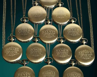 14 Groomsmen gifts - Personalized Usher & Best Man gifts - Groomsman gift- Pocket watch set engraved with gift boxes - Gifts for him