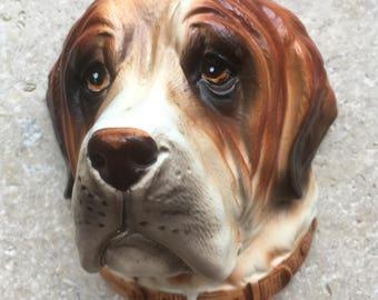 Vintage St Bernard dog wall plaque - ceramic wall hanging - hand painted dog wall art