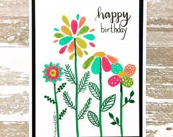 C001 - Hand-drawn Hand-lettered Handmade Retro Floral Greeting Card - Happy Birthday