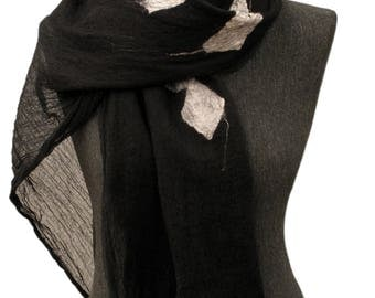 Black and white scarf, Silk and merino wool scarf, Unique nuno felted scarf, Womens scarf, Unique handmade scarf, Felt scarf, Black shawl