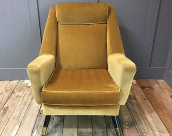 Yellow Fabric Vintage Arm Chair