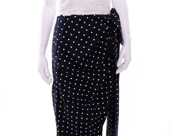 Victor Costa Vintage Strapless Polka Dot Lace Navy White Bow Dress