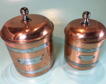 Copper Jars Coffee Tea Retro, Vintage Coffee Jar Set, Kitchen Decor Jars