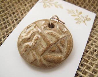 Pendant - Textured Handmade Ceramic Pendant with Glossy Oatmeal Glaze