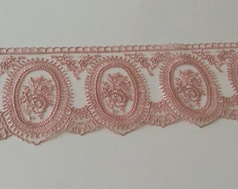 Ribbon lace tulle of 10. Pink old approximately cm