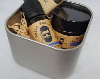 Starter Beard Set Gift or Travel Kit for beards with beard oil, beard balm and beard soap in a square tin with a clear lid, great present!