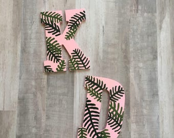 Sorority letters, sorority gift, big little sorority, sorority monogram, sorority decor, leaves decor, plant decor, painted letters
