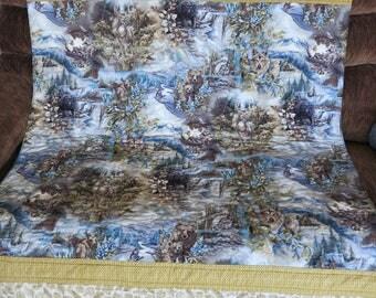 Wildlife quilt, blanket, moose, bear, deer, wolves,  nature lover, lap quilt, adult lap quilt, teen, gender neutral, man, handmade