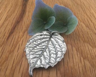 Silver Hydrangea leaf pendant, Hydrangea leaf, silver leaf, silver hydrangea jewellery, hydrangea, leaf, pure silver, necklace, pendant