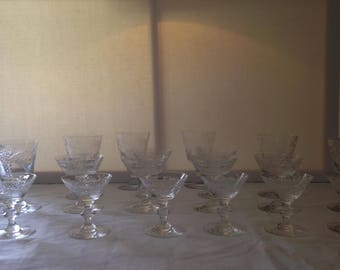 Hawkes Crystal Glasses Set of 18
